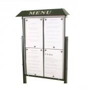 Vitrine porte menu grand format - Capacité : 4 ou 6 pages - Dimensions d'affichage (cm) : 46 x 60 ou 68 x 60