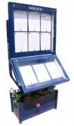Vitrine porte menu lumineuse extérieur - Capacité : 6 + 3 pages - Dimensions d'affichage (cm) : 73 x 65 - 73 x 43