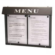 Vitrine porte menu murale d'extérieur - Capacité : 2 pages - Dimensions d'affichage (cm) : 46 x 31