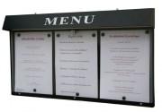 Vitrine porte menu murale pour bistrot - Capacité : 3 pages - Dimensions d'affichage (cm) : 68 x 31