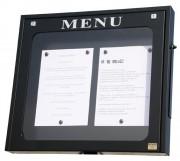 Vitrine porte menu pour extérieur - Capacité : 2 pages - Version murale à simple face