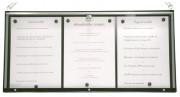 Vitrine porte menu pour intérieur - Capacité : 3 pages - Version murale