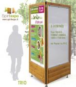Vitrines affichage bois et métal format sucette - Fintion Bois Miel