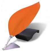 Voile d'ombrage en forme de feuille - Armature centrale télescopique avec bordure flexible en fibre de verre