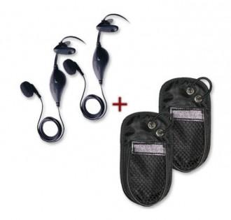 2 housses avec 2 kits piéton pour Talkie Walkie - Devis sur Techni-Contact.com - 1
