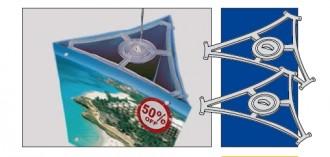 Affichage suspendu triangle pour magasin - Devis sur Techni-Contact.com - 1