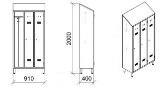 Armoire de rangement vestiaire 3 places - Devis sur Techni-Contact.com - 2