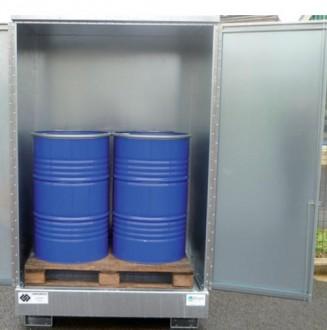 Box de stockage 2 fûts en acier galvanisé - Portes avec serrure - Devis sur Techni-Contact.com - 1