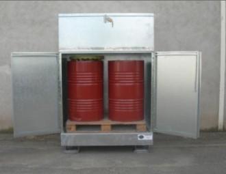 Box de stockage 2 fûts en acier galvanisé - Portes avec serrure - Devis sur Techni-Contact.com - 2