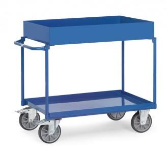 Chariot à 2 plateaux tôlés avec rebord - Devis sur Techni-Contact.com - 1