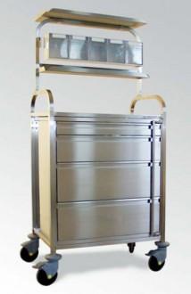 Chariot d'anesthésie à 4 tiroirs façade inox - Devis sur Techni-Contact.com - 1