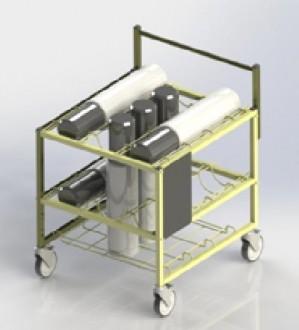 Chariot médical transport bouteilles d'oxygéne - Devis sur Techni-Contact.com - 3