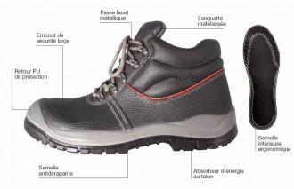 Chaussure cuir noire haute de protection - Devis sur Techni-Contact.com - 1