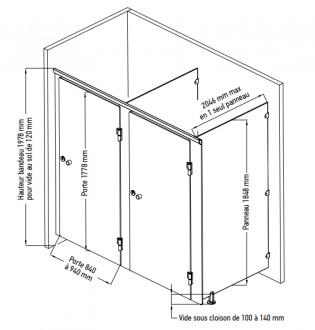 Cloison sanitaire stratifié massif - Devis sur Techni-Contact.com - 3