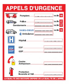 Consigne numéros appels d'urgence - Devis sur Techni-Contact.com - 1