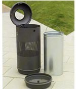 Corbeille d'extérieur avec seau interne galvanisé - Devis sur Techni-Contact.com - 1