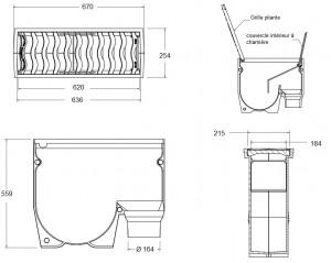 Dalot en fonte corps grille inclinable - Devis sur Techni-Contact.com - 2
