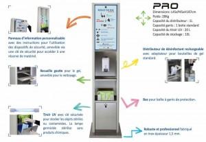 Distributeur de gel hydroalcoolique avec stérilisateur masque  - Devis sur Techni-Contact.com - 1