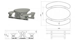 Ensemble pique-nique ovale en béton  - Devis sur Techni-Contact.com - 2