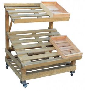 Étal marché bois 2 niveaux orientables - Devis sur Techni-Contact.com - 2
