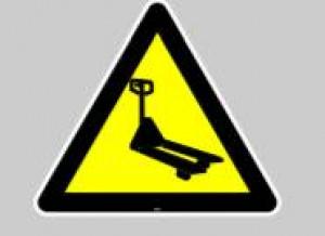 Panneau au sol adhésif attention trans-palette - Devis sur Techni-Contact.com - 1