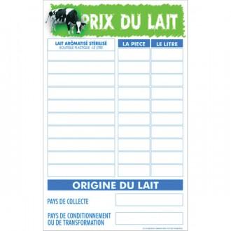 Panneau d'affichage prix et origine du lait - Devis sur Techni-Contact.com - 1