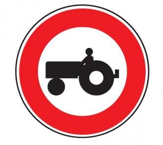 Panneau d'interdiction d'accès aux véhicules agricoles à moteur B9d - Devis sur Techni-Contact.com - 1