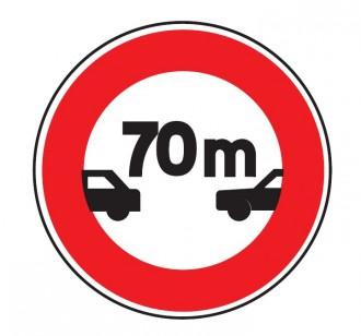 Panneau de signalisation d'un intervalle minimal 70m B17 - Devis sur Techni-Contact.com - 1