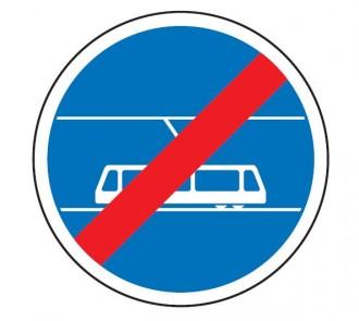 Panneau fin de voie réservée au tramway B45b - Devis sur Techni-Contact.com - 1