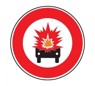 Panneau interdiction véhicule transportant marchandise explosive B18a - Devis sur Techni-Contact.com - 1