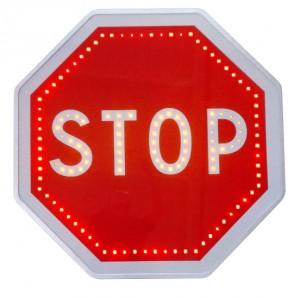 Panneau STOP clignotant avec renforts lumineux Led - Devis sur Techni-Contact.com - 1