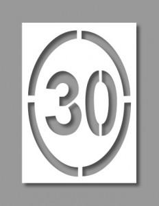 Pochoir panneau ovale limitation 30Km/h - Devis sur Techni-Contact.com - 1