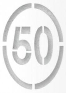 Pochoir panneau ovale limitation 50Km/h - Devis sur Techni-Contact.com - 1