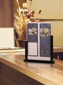 Porte-affiche de table en bois noir - Devis sur Techni-Contact.com - 1