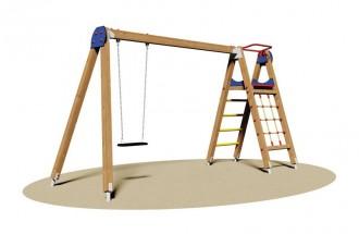 Portique balançoire avec filet à grimper - Devis sur Techni-Contact.com - 1