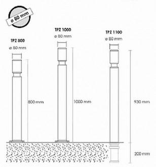 Poteau flexible à sceller TZU ø80 mm - Devis sur Techni-Contact.com - 2