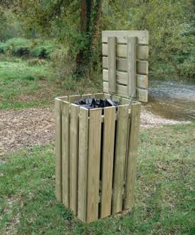 Poubelle carrée en bois - Devis sur Techni-Contact.com - 1