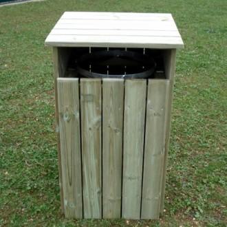 Poubelle en bois avec porte ouvrante - Devis sur Techni-Contact.com - 1