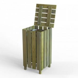 Poubelle en bois avec porte ouvrante - Devis sur Techni-Contact.com - 2