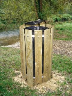 Poubelle ronde en bois 100 litres - Devis sur Techni-Contact.com - 1
