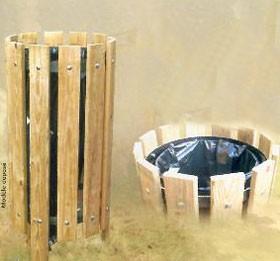 Poubelle ronde en bois 100 litres - Devis sur Techni-Contact.com - 3