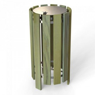 Poubelle ronde en bois 100 litres - Devis sur Techni-Contact.com - 4