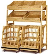 Présentoir à pain avec chariots osier - Devis sur Techni-Contact.com - 1