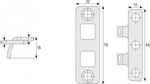 Renfort paumelles à deux crochets fixes - Devis sur Techni-Contact.com - 2