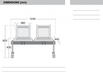 Sièges métal perforé sur poutre deux places aluminium - Devis sur Techni-Contact.com - 2