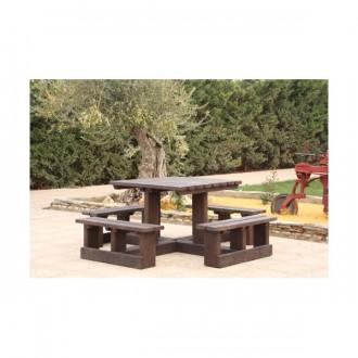 Table carrée avec bancs en plastique recyclé - Devis sur Techni-Contact.com - 2