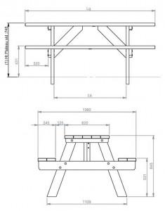 Table de pique-nique en plastique recyclé 1800 mm - Devis sur Techni-Contact.com - 2