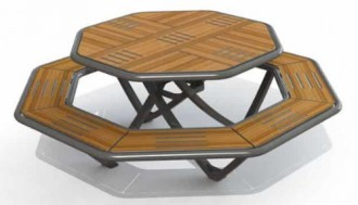 Table octogonale de pique nique en stratifié compact - Devis sur Techni-Contact.com - 1