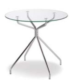table ronde plateau verre - table 4 pieds alu - techni-contact