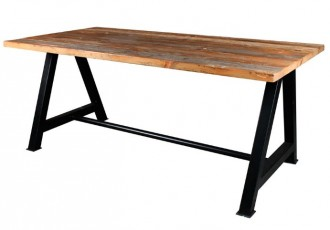 Table style industriel plateau en bois - Devis sur Techni-Contact.com - 2